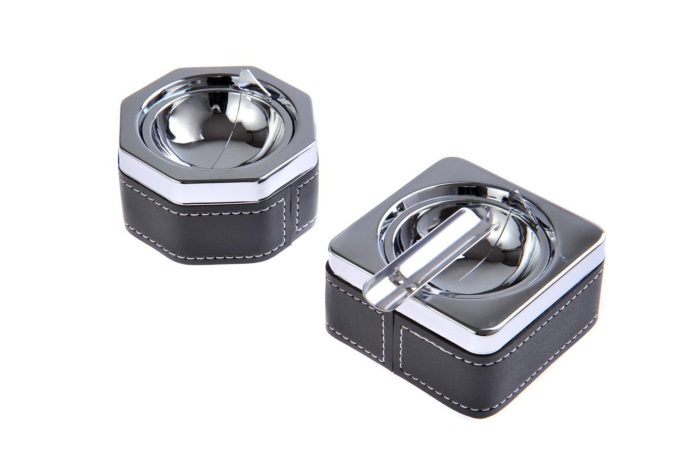 Mod 834BF Cendrier fait en alliage de zinc et cuir housse argent/ée DE