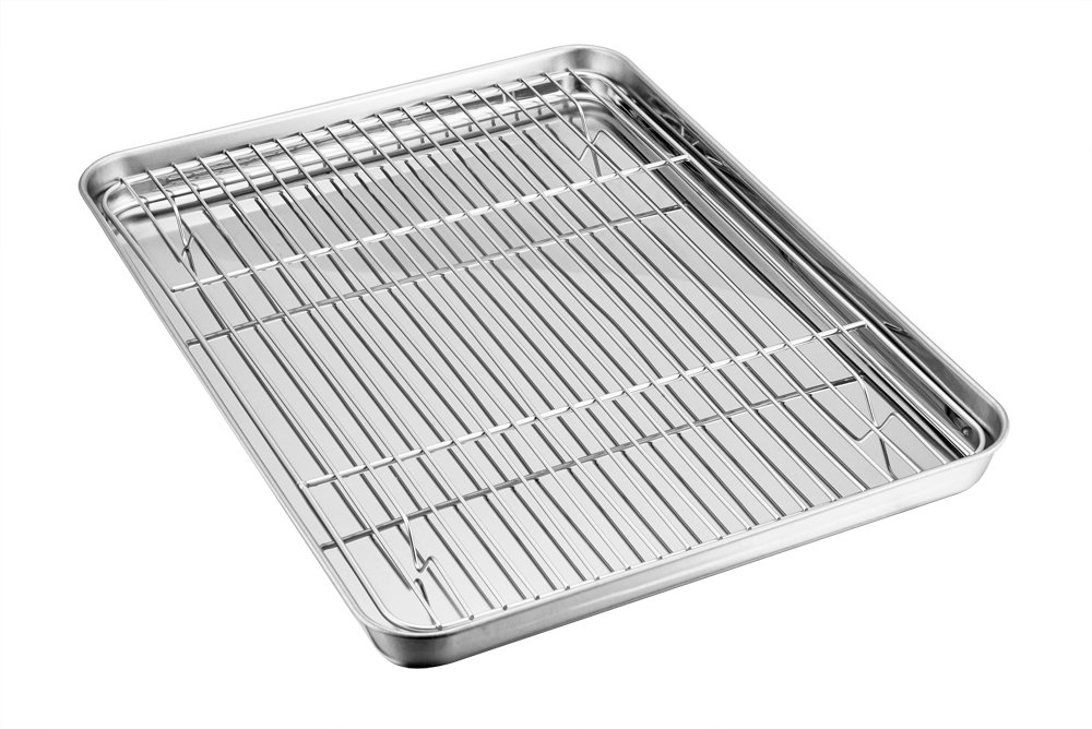 TeamFar Baking Sheet with Rack Set, Stainless Steel Baking Pan Tray Cookie Sheet with Cooling Rack, Non Toxic & Healthy, Easy Clean & Dishwasher Safe
