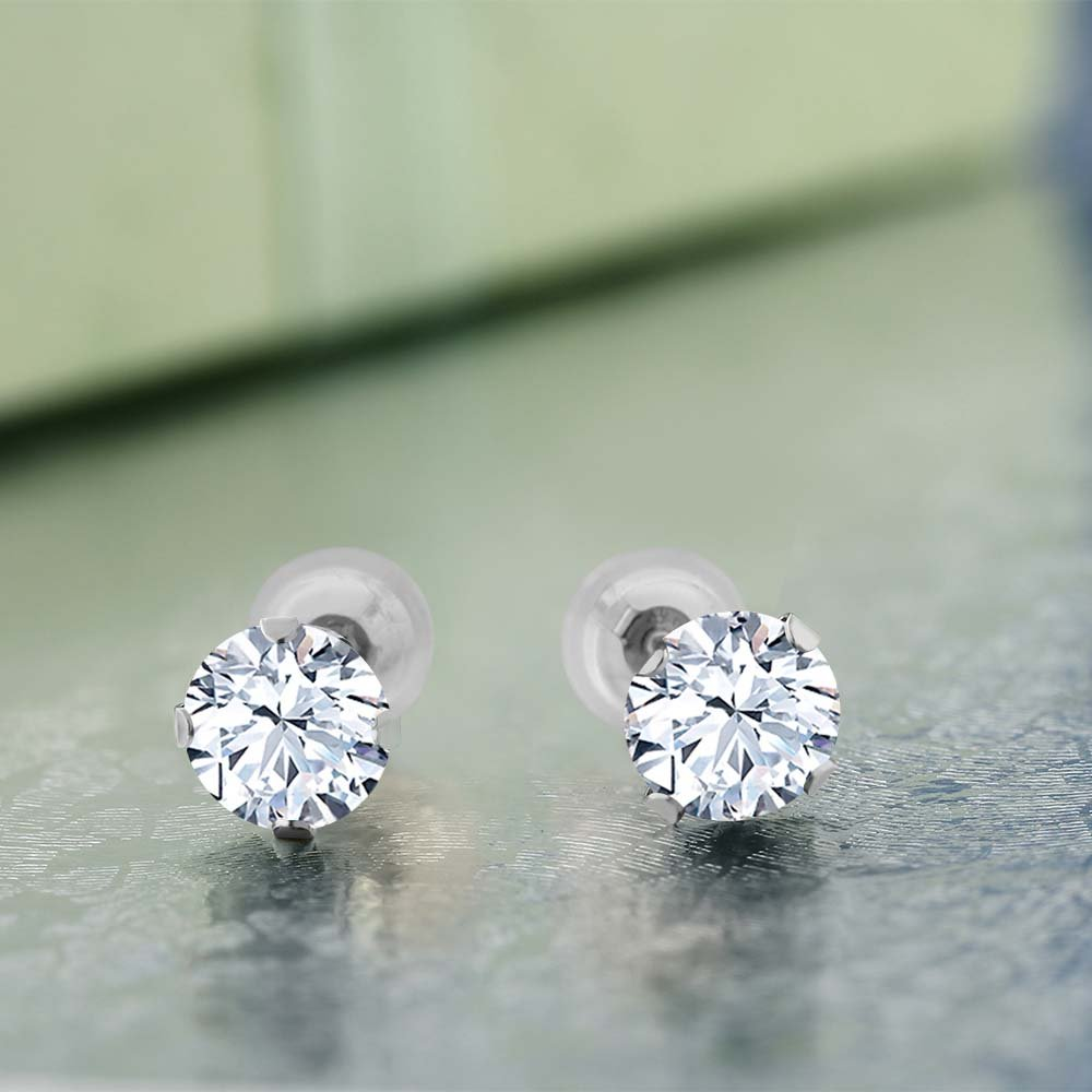 Gem Stone King 2.40 Ct Round Hearts And Arrows White Created Sapphire 14K White Gold Earrings