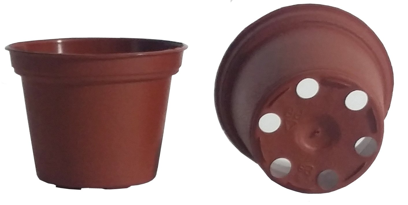 100 NEW 2 Inch Plastic Nursery Pots ~ Pots ARE 2.15 Inch Round At the Top and 1.67 Inch Deep Color: Terracotta by Teku