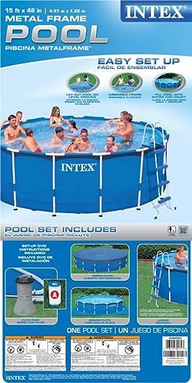amazoncom intex metal frame pool set 15 feet by 48 inch older model patio lawn garden