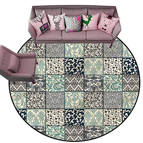 Floor Mat Kitchen Long Carpet Patchwork,Damask and Scroll Flower Diameter 66