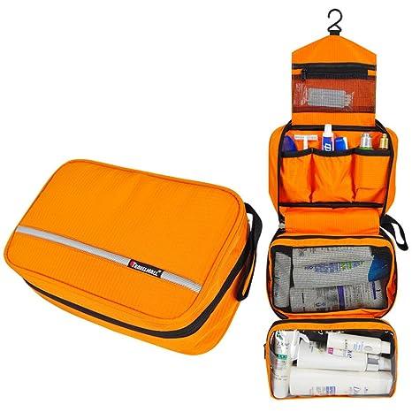 SCLM Neceser de Viaje Bolsa de Aseo Impermeable y Plegable para Hombres,Mujeres y Niños (Naranja)