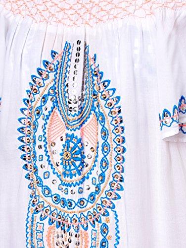 Neon Kleid mit Weiß relevant Damen Stickereien by Nicht BAMBOLA Keine wgxtFqC7T