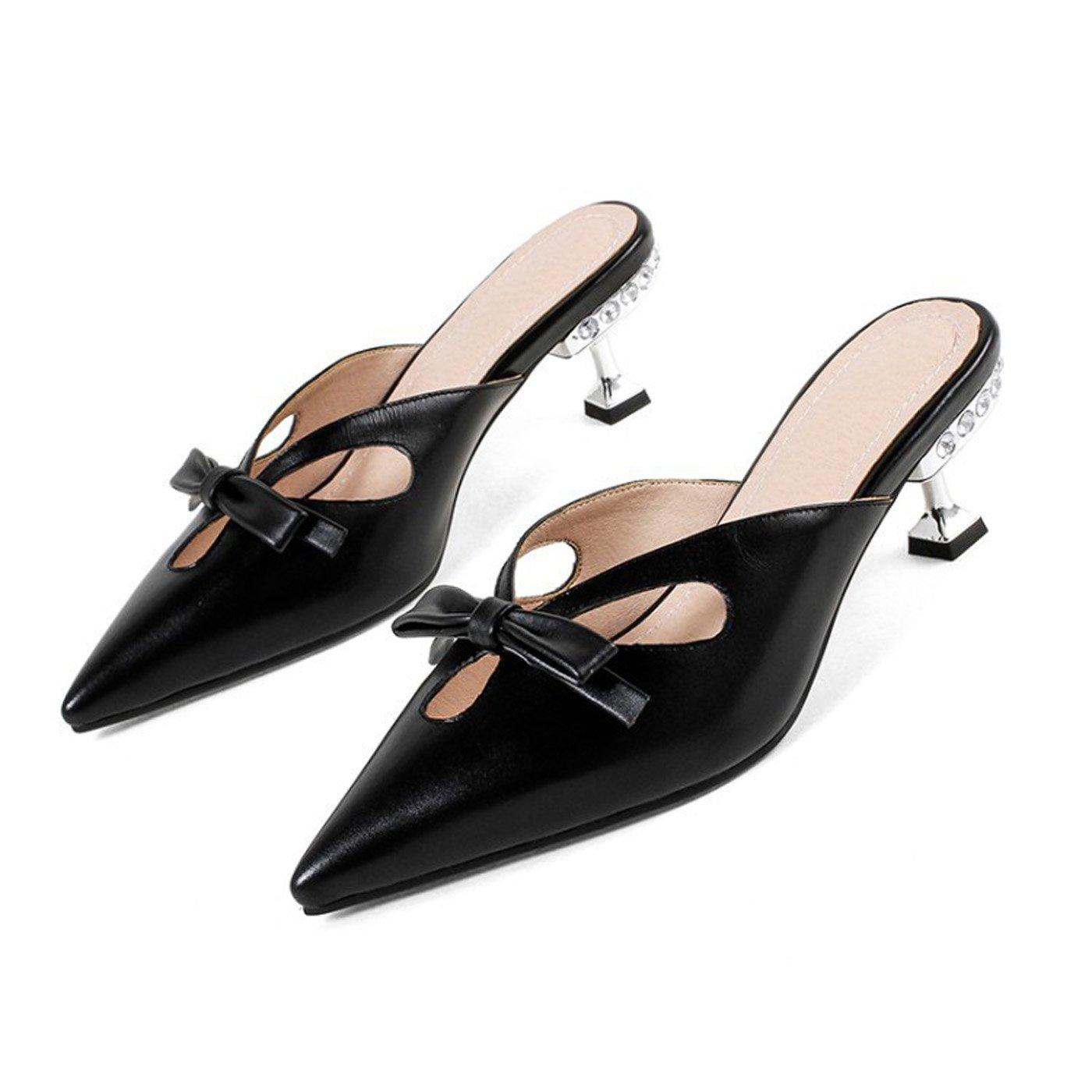 ZXMXY Damen Schuhe Sommer Light Sohlen Sandalen Kitten Heel Spitz Schnalle für Kleid Schwarz Sandalen im Freien
