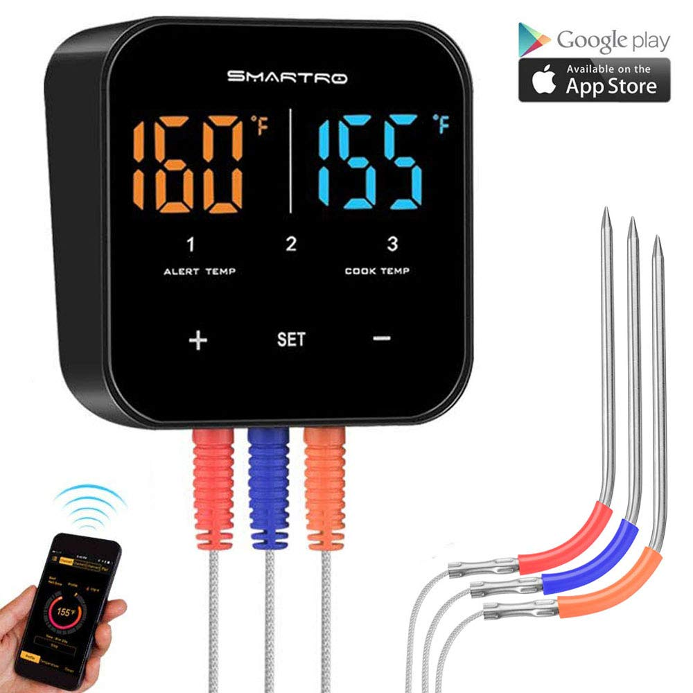 Wireless Meat Thermometer for Grilling, Bluetooth Digital Cooking Food Thermometer Instant Read with Probe for Smoker Oven Kitchen Candy BBQ Grill Thermometer Alarm Monitor Thermometers Clock Timer by SMARTRO