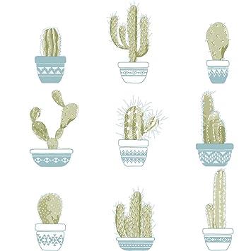 Papier Peint Avec Cactus Verts Dans Les Vases Bleu Sur Fond Blanc