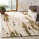 Safavieh Bella Collection BEL120A Handmade Modern Abstract Art Beige and Green Wool Area Rug (8' x 10')