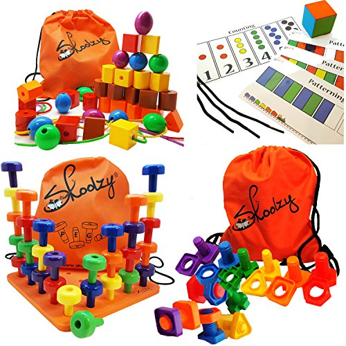 Montessori Fine Motor Toddler Toys - 102pc Set - Skoolzy STRINGING BEADS, JUMBO NUTS and BOLTS, PEGBOARD GAME Set | Occupational Therapy Toys Matching, Lacing, Stacking Skills Activity Ebook (Peg Puzzle Tools)