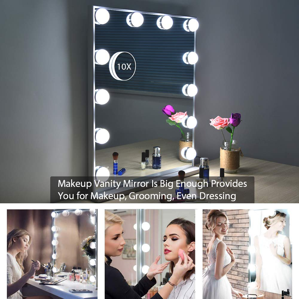 WONSTART Hollywood Makeup Vanity Mirror with Lights Kit, Lighted Makeup Dressing Table Vanity Set Mirrors with Dimmer, Tabletop or Wall Mounted Vanity, LED Bulbs Included by WONSTART (Image #6)