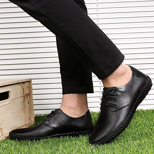 Saisons Lacets Hommes Jeunesse Casual Black en Chaussures Mode Britannique Quatre Cuir LYZGF EwASaS