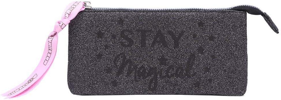 Marshmallow - Estuche Glitter, Portatodo Negro Purpurina Brillante, 3 Compartimentos, Cremallera, Dim. 22 x 12 x 3 cm (Opi Brands 62907): Amazon.es: Equipaje