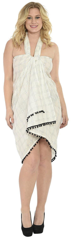 La Leela Rayon Plaid Bommel weiß 5 in einem Bademode / Badeanzug vertuschen / Tunika / sundress / Bikini Schlitz Rock / Damen Pareo / plus Größe Badeanzug Sarong langes Kleid 198x99 cm wickeln