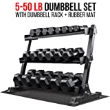 Rep Rubber Hex Dumbbell Set with Racks, 5-50 Set, 5-75 Set, 5-100 Set, 2.5-27.5 Set, 55-75, 80-100, or 105-125 Set. Available with and Without Racks.