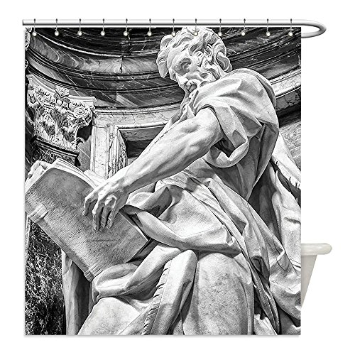 St Matthew Costume Ideas (Liguo88 Custom Waterproof Bathroom Shower Curtain Polyester Sculptures Decor Statue of St. Matthew at the Basilica of St. John Lateran in Rome Cthedra with Pillars Decor Bronze Decorative bathroom)