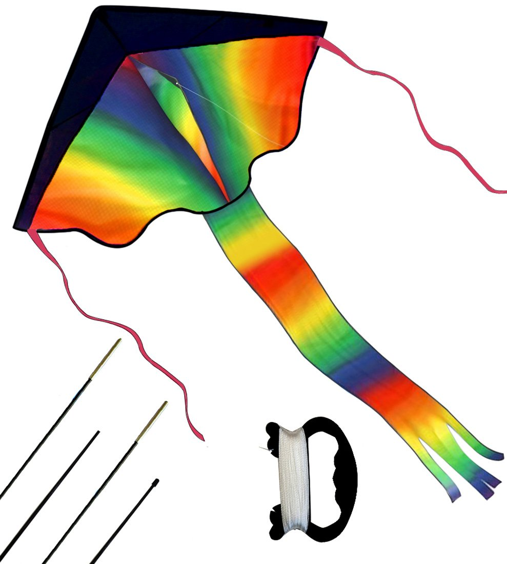 Rainbow Delta Kite for Kids and Adults - Easy Flyer Kite for Beginners - Parafoil Kite for the Beach - Best Summer Toys for Outdoor Games Avtivities BEAUTOSOUL