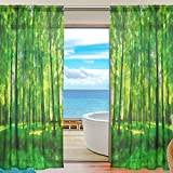 Cheap Summer Landscape Trees Forest Sheer Curtain for Living Room Bedroom,55 x 84 Inches Long,Green,Window Treatments,Rod Pocket,Polyester Fabric,Set of 2 Panels
