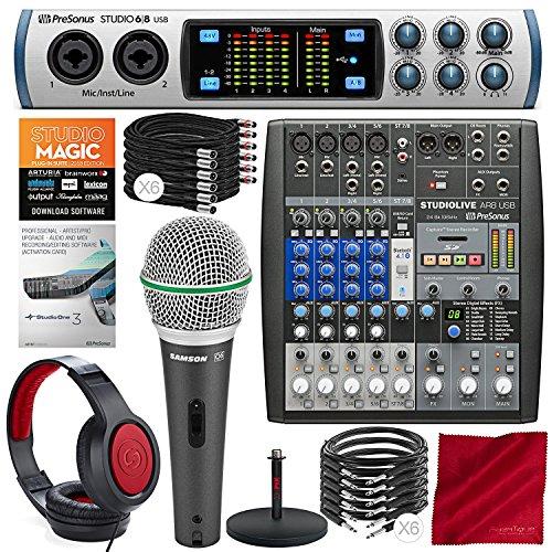 PreSonus Studio 68 USB 2.0 Recording System and StudioLive AR8 USB 8-Channel hybrid Performance Mixer with Studio One 3 Upgrade and Premium Music Creation Studio Bundle