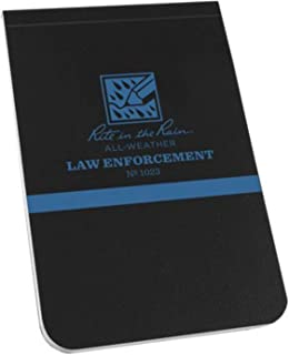"""product image for Rite in the Rain All-Weather Law Enforcement Notebook, 3.25"""" x 5"""", Black Cover, Legal Pattern (No. 1023)"""