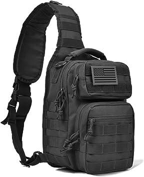 REEBOW GEAR Tactical Sling Bag Pack Militar Rover Hombro Sling Mochila Pequeña, Negro: Amazon.es: Deportes y aire libre