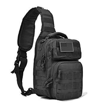 Tactical Sling Bag Pack Military Shoulder Sling Backpack Small Range Bag  Day Pack Black with Patch e8ebf12e45874