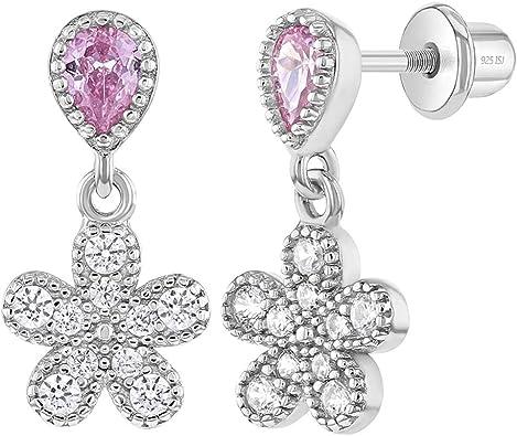 Large Pink Heart and Teardrop CZ/'s in Sterling Silver Earrings