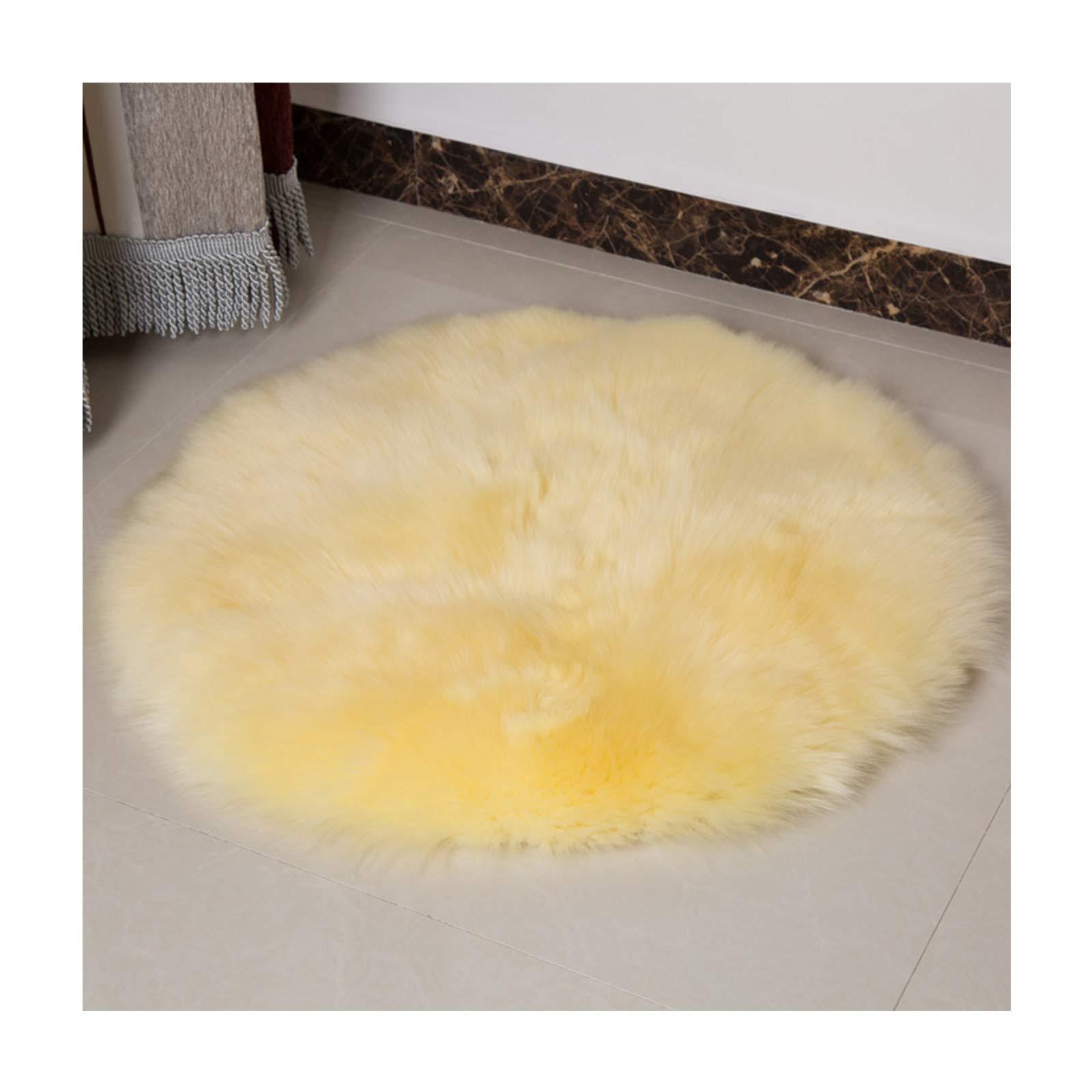 Elhouse Round Mat Home Decor Faux Fur Sheepskin Rugs Kids Carpet Nursery Bedroom Fluffy Rug Shaggy Area Rug, Diameter 5ft Light Yellow