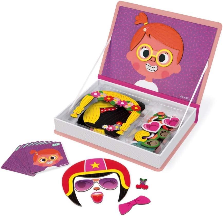 Janod - MagnetiBook Crazy Faces juguete educativo, Niñas (J02717): Amazon.es: Juguetes y juegos