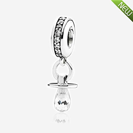 PANDOCCI Se adapta a los encantos DIY de la pulsera de Pandora Chupete con Clear zirconia cúbica 100% 925 joyería de plata esterlina del grano