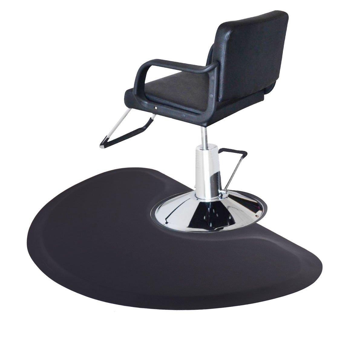 Tobbi Semi Circle 5'x3' 1/2'' Barber Salon Anti Fatigue Floor Mat Black