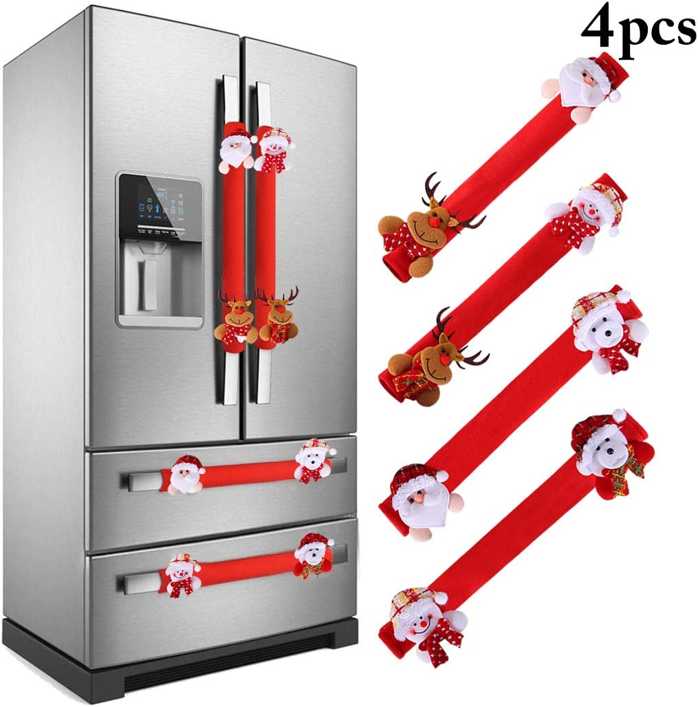Coxeer Refrigerator Door Handle Covers Set, 4PCS Christmas Handle Cover Xmas Snowman Anti Skid Appliance Refrigerator Door Handle Holder (Christmas 2)