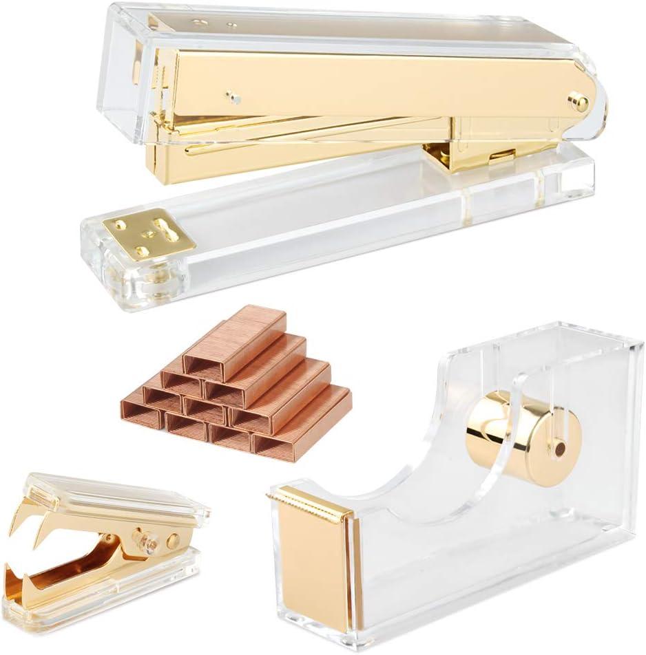 Gold Acrylic Stapler Set Desk Accessory & Decoration Kit, Stapler with 1000 Pcs Staples and Staple Remover, Tape Dispenser, Gold Stapler Bundle Office Supplies Set