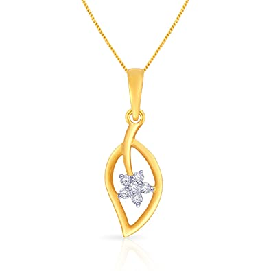 3fce359a7 Buy Malabar Gold and Diamonds 18k Yellow Gold and Diamond Pendant Online at  Low Prices in India | Amazon Jewellery Store - Amazon.in