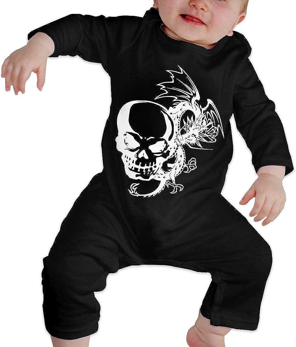 The Skull and A Dragon-1 Printed Newborn Baby Bodysuit Long Sleeve Romper Black