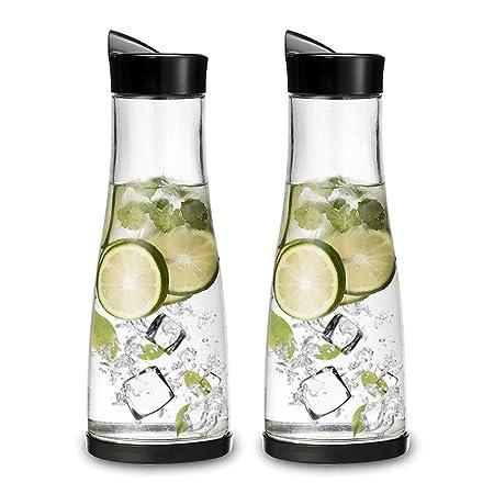 DYOYO Jarra de Agua Cristal Botella de Cristal con Tapa Acero ...