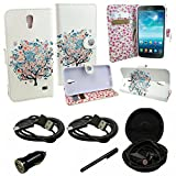 Mstechcorp - Wallet Credit Card Flip Case Cover Design Flip PU Leather Fold Wallet Pouch Case for Samsung Galaxy Mega 2 - Includes [Car Charger + 2 Data Cable] + [Touch Screen Stylus] + [Hands Free Earphone With Carrying Case] (COLORFUL TREE)