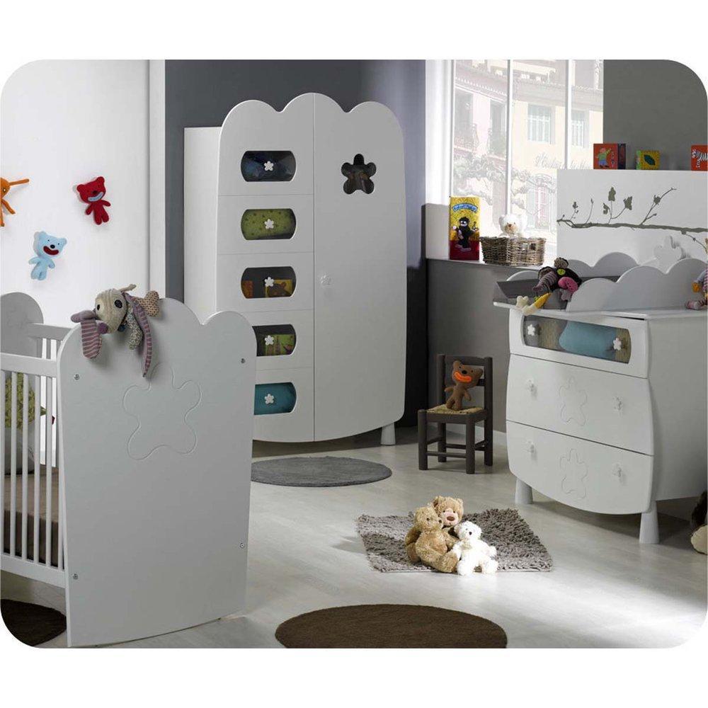 Babyzimmer komplett Linea weiß mit Gitterbettchen und Wickelfläche