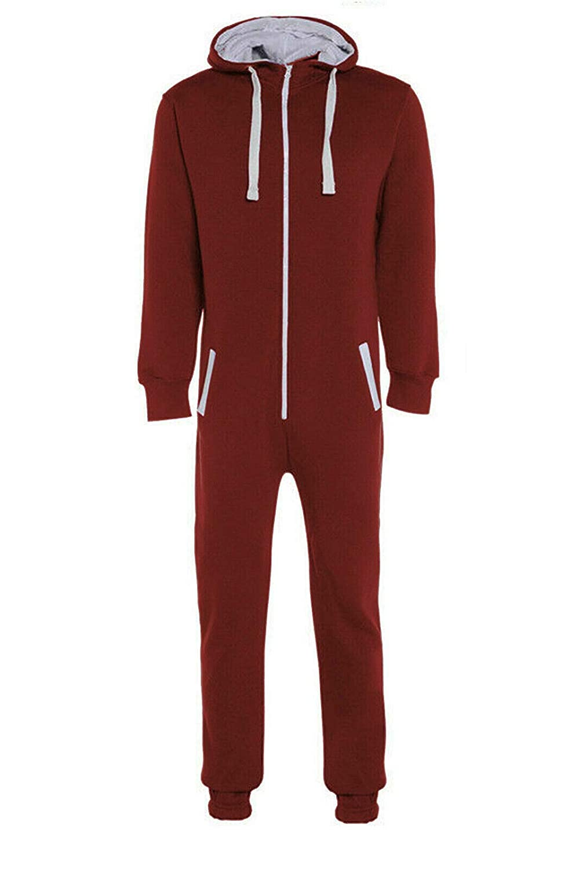 Mens Fleece Plain Loungewear Hooded All in One Piece Sleepwear Jumpsuit M L XL