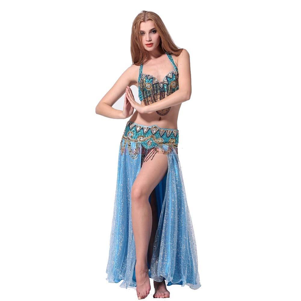 ラテンダンスドレス ベリーダンスセットパフォーマンスコスチュームセットステージドレスブラウエストオープンスカート 女性ダンス衣装 (色 : 青, サイズ : L) 青 Large