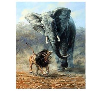 Sin Marco Menos León Elefante Pintura Diy Por Números Animales Para