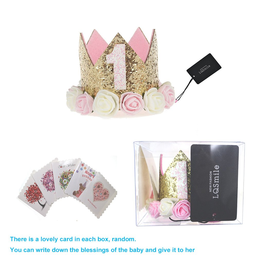 1st Baby Princess Tiara Crown,Baby Girls//Kids First Birthday Hat Sparkle Gold Flower Style with Artificial Rose Flower