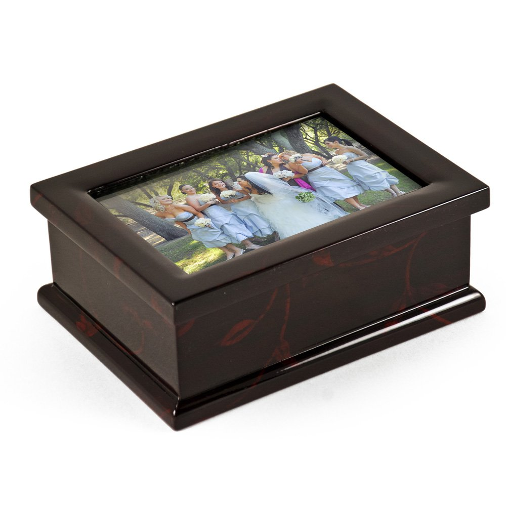 Modern 4 X 6 Photo Frame Musical Jewelry Box With Floral Motifs - In the Good Old Summertime
