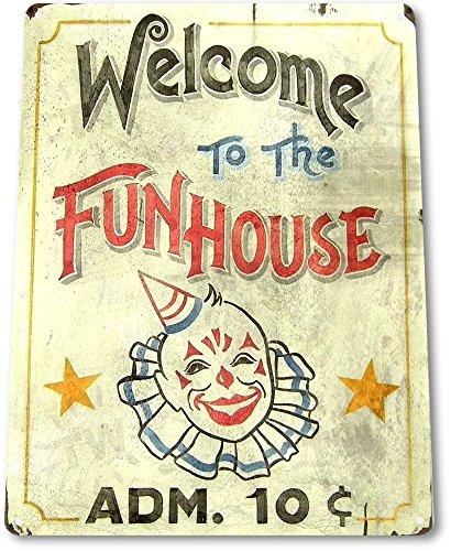 "TIN SIGN ""Fun House"" Circus Metal Decor Clown Art Kitchen Store Ranch Bar A827"