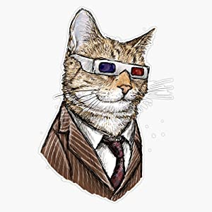 Leyland Designs 10Th Doctor Mew 3D Glasses Sticker Outdoor Rated Vinyl Sticker Decal for Windows, Bumpers, Laptops or Crafts 5""