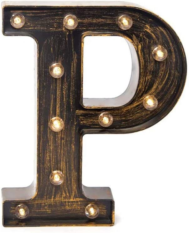 Glintee LED Marquee Letter Lights Vintage Style Light Up 26 Alphabet Letter Signs for Wedding Birthday Party Christmas Home Bar Cafe Initials Decor(P)