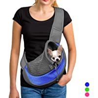 YUDODO Pet Carrier Soft Dog Cat Rabbit Travel Sling Shoulder Bag (Blue, S, fits Small Animals Less Than 4lb)