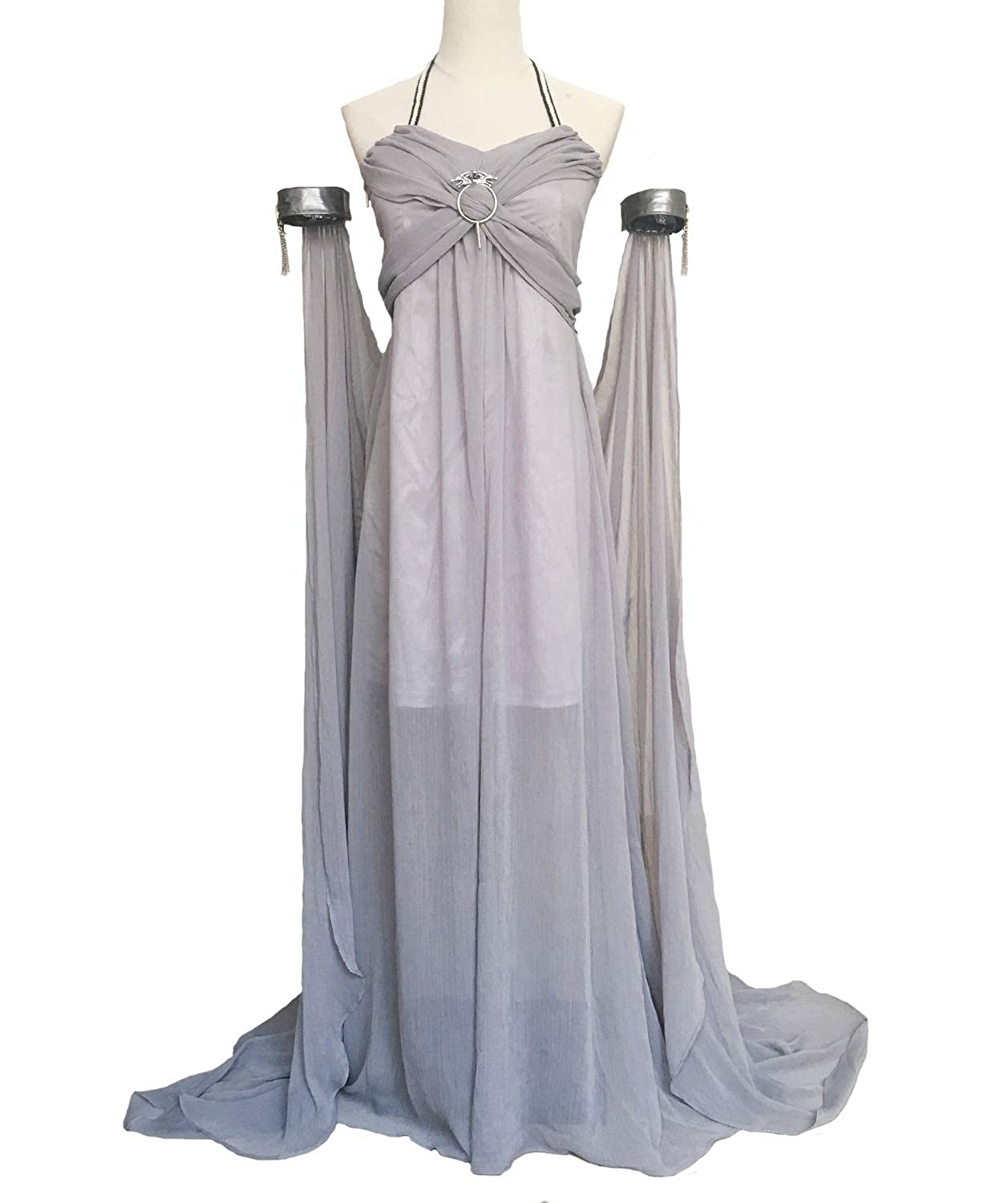 Xfang Women's Chiffon Dress Halloween Cosplay Costume Grey Long Train Dress