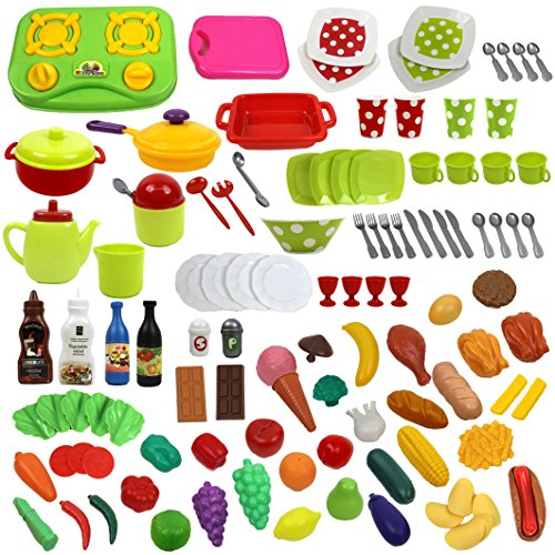 Deluxe 114 piece Play Dishes & Play Food Set in a Storage Container (Playset Kitchen Deluxe)