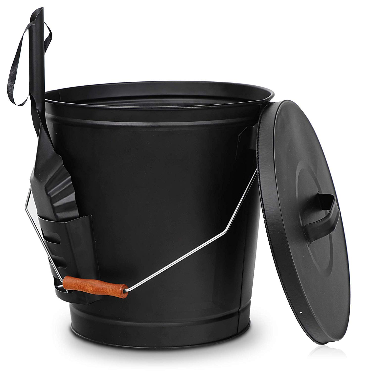 Nouva Galvanized Ash Bucket with Shovel and Lid,5.15 Gallon Large Metal Hot Wood Ash Carrier Pail Fireplace Tools,Fire Pit,Wood Burning Stove Black by Nouva