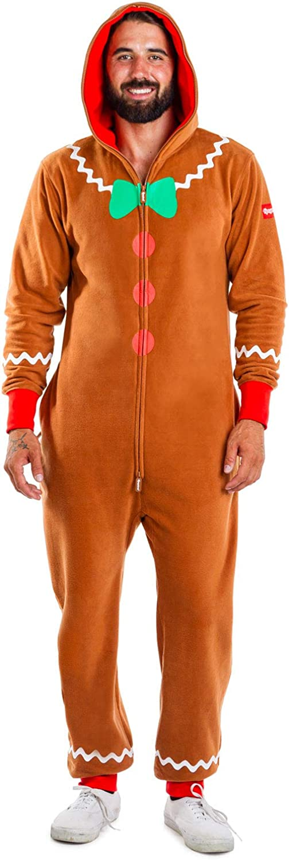 Tipsy Elves Cozy Men's Gingerbread Jumpsuit - Funny Gingerbread Cozy Christmas Onesie